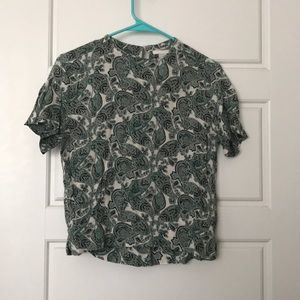 Green and white paisley top